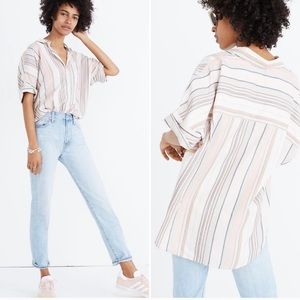 MADEWELL High Low Striped Tunic Button Up Shirt